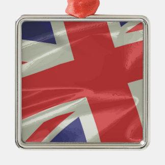 Ornamento De Metal Close up de seda da bandeira de Union Jack