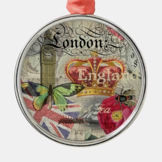 Ornamento De Metal Colagem das viagens vintage de Londres Inglaterra