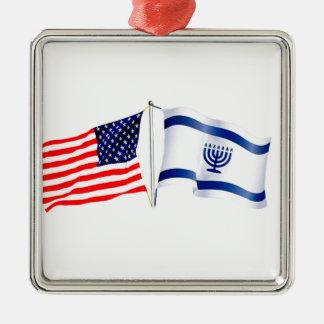 Ornamento De Metal Coleção israelita da bandeira americana