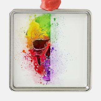Ornamento De Metal Colorful Skull - Caveira Colorida