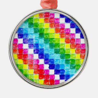 Ornamento De Metal Colorido em quadrados do papel de gráfico