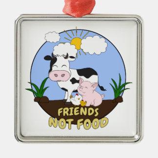 Ornamento De Metal Comida dos amigos não - vaca bonito, porco e