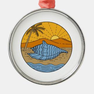 Ornamento De Metal Conch Shell na árvore de coco segunda-feira de Sun