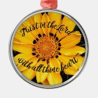 Ornamento De Metal Confiança no senhor Brilhante Amarelo Flor