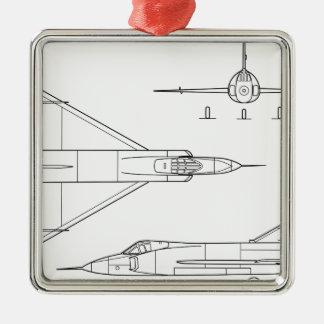 Ornamento De Metal Convair_YF-102_Delta_Dagger_3-view