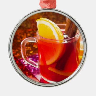 Ornamento De Metal Copo transparente do chá com citrino, canela