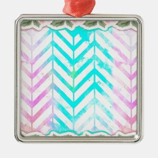 Ornamento De Metal Cor-de-rosa floral e azul do monograma elegante
