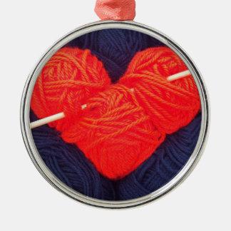 Ornamento De Metal Coração bonito de lãs com a fotografia da agulha
