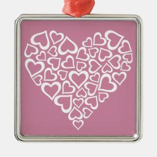 Ornamento De Metal Coração branco dos corações
