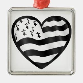Ornamento De Metal Coração com bandeira de Bretin para dentro