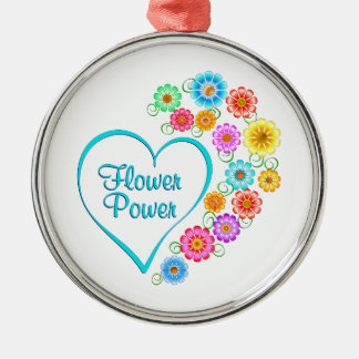 Ornamento De Metal Coração de flower power
