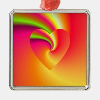 Ornamento De Metal Coração do amor do redemoinho do arco-íris
