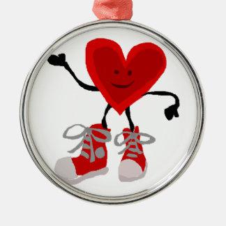Ornamento De Metal Coração vermelho engraçado em desenhos animados