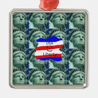Ornamento De Metal Cores da bandeira dos EUA com estátua da liberdade