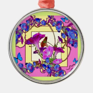 Ornamento De Metal Corriolas cor-de-rosa do azul da arte