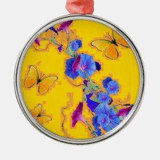 Ornamento De Metal corriolas do azul das borboletas do ouro