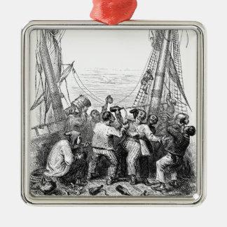 Ornamento De Metal Corsários do vintage e um navio de pirata