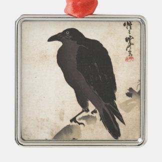 Ornamento De Metal Corvo de Kawanabe Kyosai que descansa na arte de