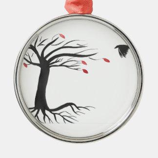 Ornamento De Metal Corvo e árvore