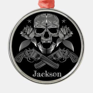 Ornamento De Metal Crânio e armas pretos & brancos