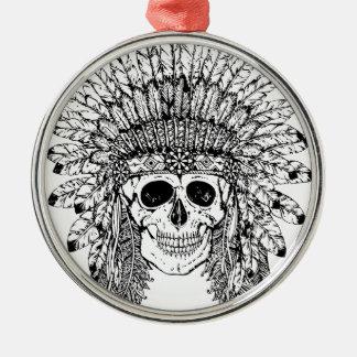 Ornamento De Metal Crânio gótico do estilo tribal com gráfico da