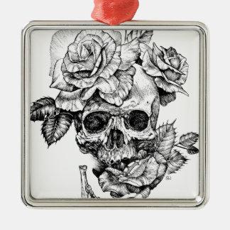 Ornamento De Metal Crânio humano e desenho de tinta preta dos rosas