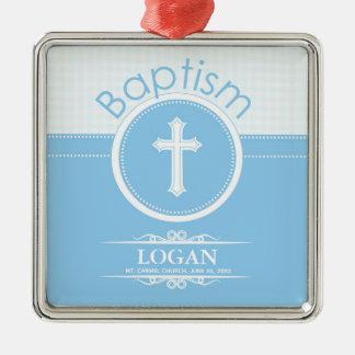 Ornamento De Metal Criança do menino customizável, azul do baptismo