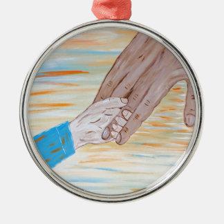 Ornamento De Metal Criança que guardara a mão do pai