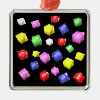 Ornamento De Metal Cubos coloridos 3d rendidos
