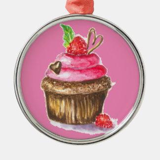Ornamento De Metal Cupcake bonito e do divertimento do chocolate e da