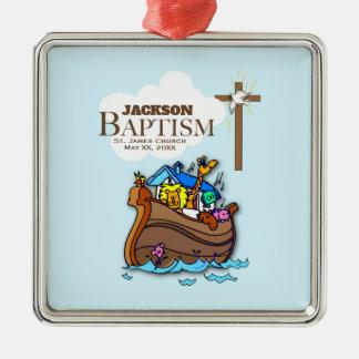 Ornamento De Metal Customizável, a arca de Noah do baptismo do bebé