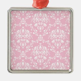 Ornamento De Metal Damasco cor-de-rosa e branco