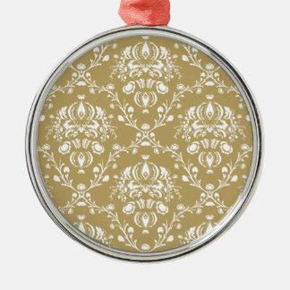 Ornamento De Metal Damasco do cacau e do creme