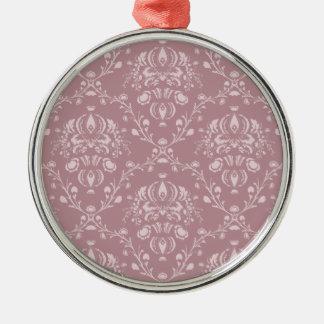 Ornamento De Metal Damasco roxo e branco