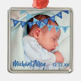 Ornamento De Metal Data azul das bandeiras | do bebé bem-vindo, nome,