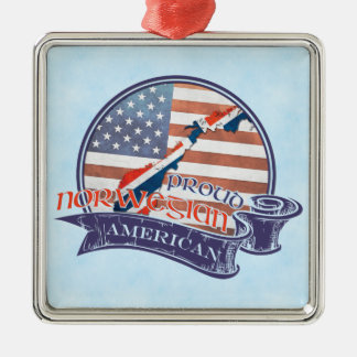 Ornamento De Metal Decoração americana norueguesa orgulhosa