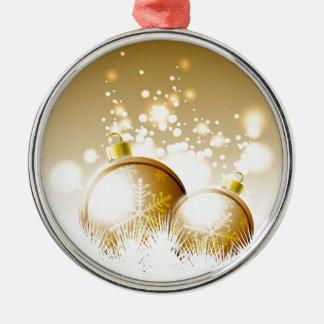 Ornamento De Metal Decoração marrom dourada do ano novo com neve
