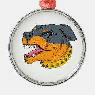 Ornamento De Metal Desenho agressivo da cabeça de cão da guarda de