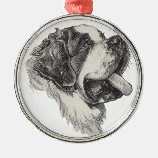 Ornamento De Metal Desenho clássico do retrato do cão de St Bernard