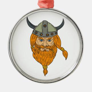 Ornamento De Metal Desenho da cabeça do guerreiro de Viking do