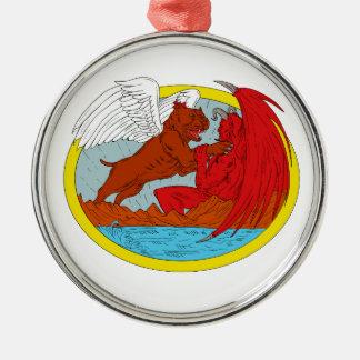 Ornamento De Metal Desenho de combate da satã do cão americano da