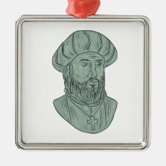 Ornamento De Metal Desenho do busto do explorador de Vasco da Gama