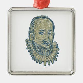 Ornamento De Metal Desenho do busto do senhor Walter Raleigh