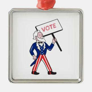 Ornamento De Metal Desenhos animados eretos do voto do cartaz do tio