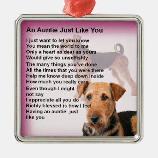 Ornamento De Metal Design de Airedale Terrier - poema do Auntie