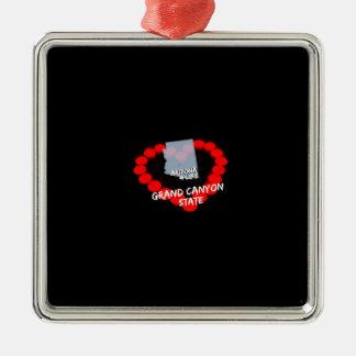Ornamento De Metal Design do coração da vela para o estado de arizona