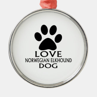 ORNAMENTO DE METAL DESIGN NORUEGUÊS DO CÃO DO AMOR ELKHOUND
