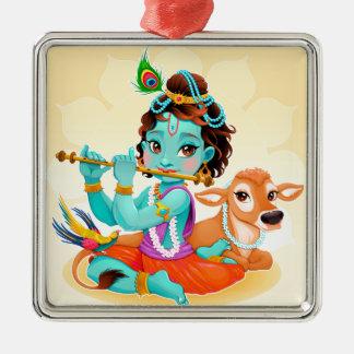 Ornamento De Metal Deus indiano de Krishna que joga a ilustração da