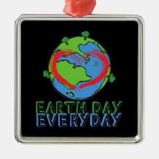 Ornamento De Metal Dia da Terra: Mantenha o verde & o reciclado da