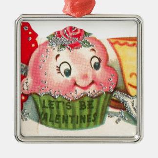 Ornamento De Metal Dia dos namorados retro do cupcake e do Teacup do
